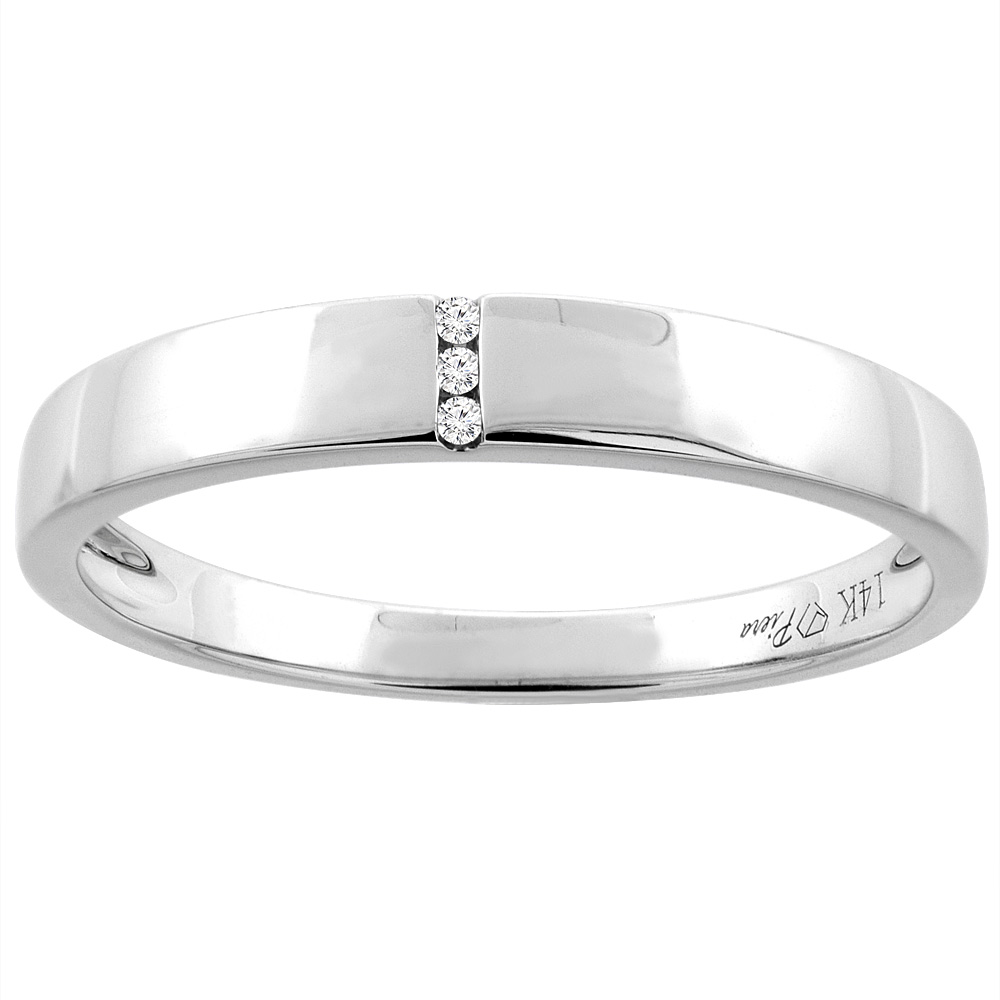 14K White Gold Men's Solitaire Diamond Wedding Band 3.5 mm 0.01 cttw, sizes 8 - 14