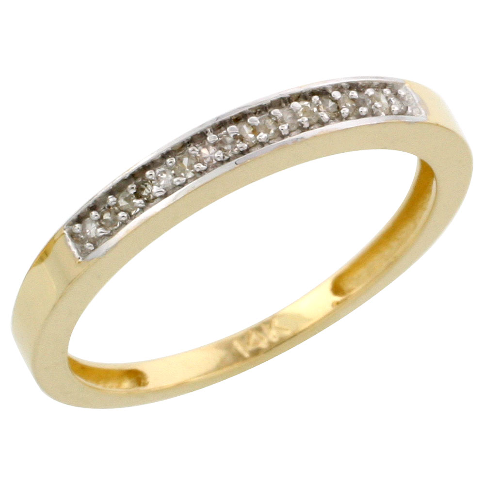 14k Gold Ladies' Diamond Band, w/ 0.08 Carat Brilliant Cut Diamonds, 3/32 in. (2.5mm) wide