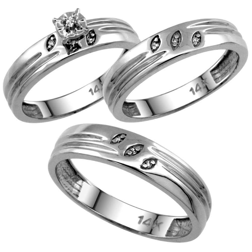 14k White Gold 2-Pc Diamond Ring Set (4.5mm Engagement Ring & 5mm Man's Wedding Band), w/ 0.056 Carat Brilliant Cut Diamonds