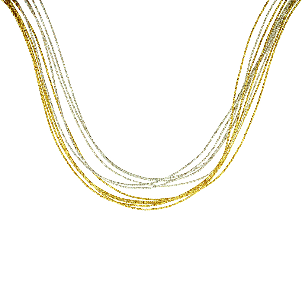 Japanese Silk Necklace 10 Strand Yellow & Silver, Sterling Silver Clasp, 18 inch