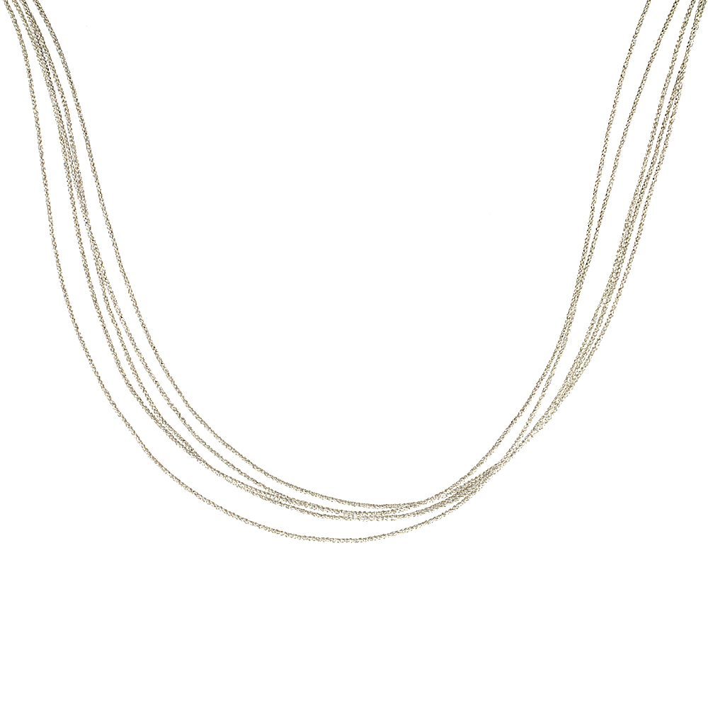 Japanese Silk Necklace 5 Strand Silver, Sterling Silver Clasp, 18 inch