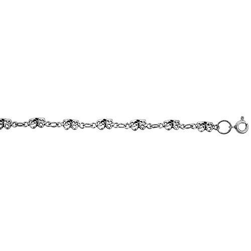 Dainty Sterling Silver Drama Masks Comedy & Tragedy Bracelet for Women and Girls, 1/4 wide 7.5 inch long