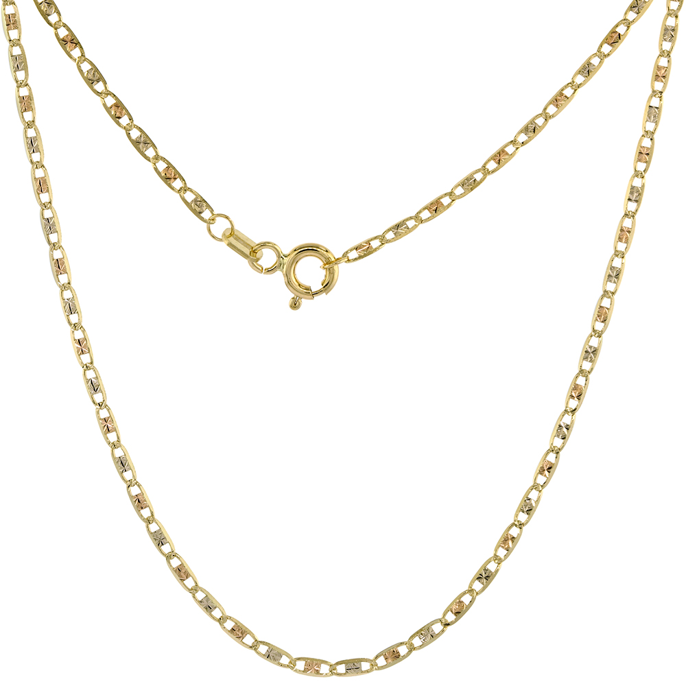 Solid 14K Tri-color Gold 1.8mm Star Diamond Cut Chain Necklace for Women Sparkling Flat Links 16-24 inch
