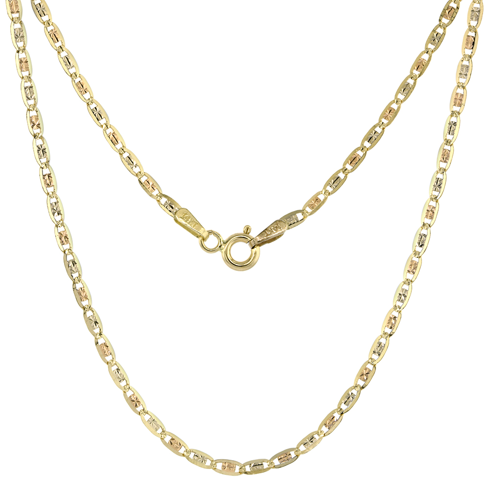 Solid 14K Tri-color Gold 2mm Star Diamond Cut Chain Necklace for Women Sparkling Flat Links 16-24 inch