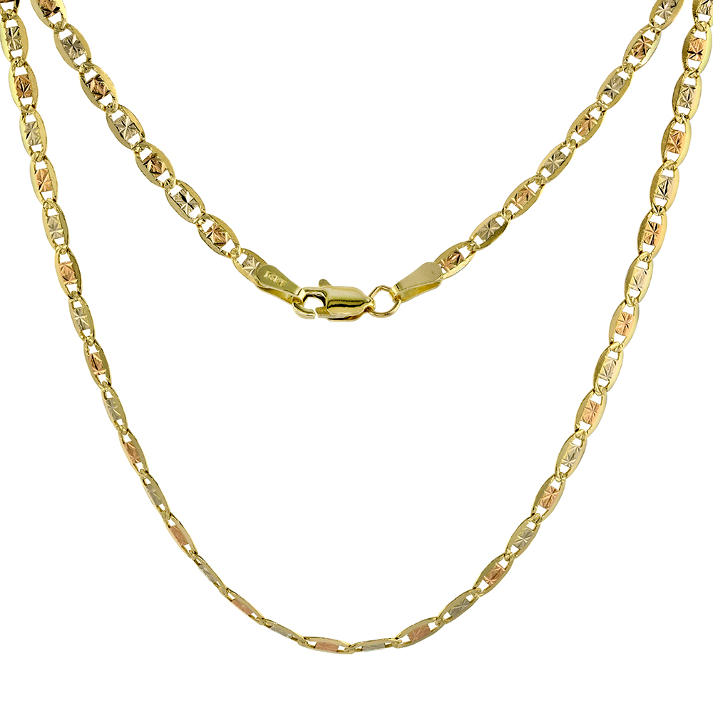 Solid 14K Tri-color Gold 3mm Star Diamond Cut Chain Necklace for Women Sparkling Flat Links 16-24 inch