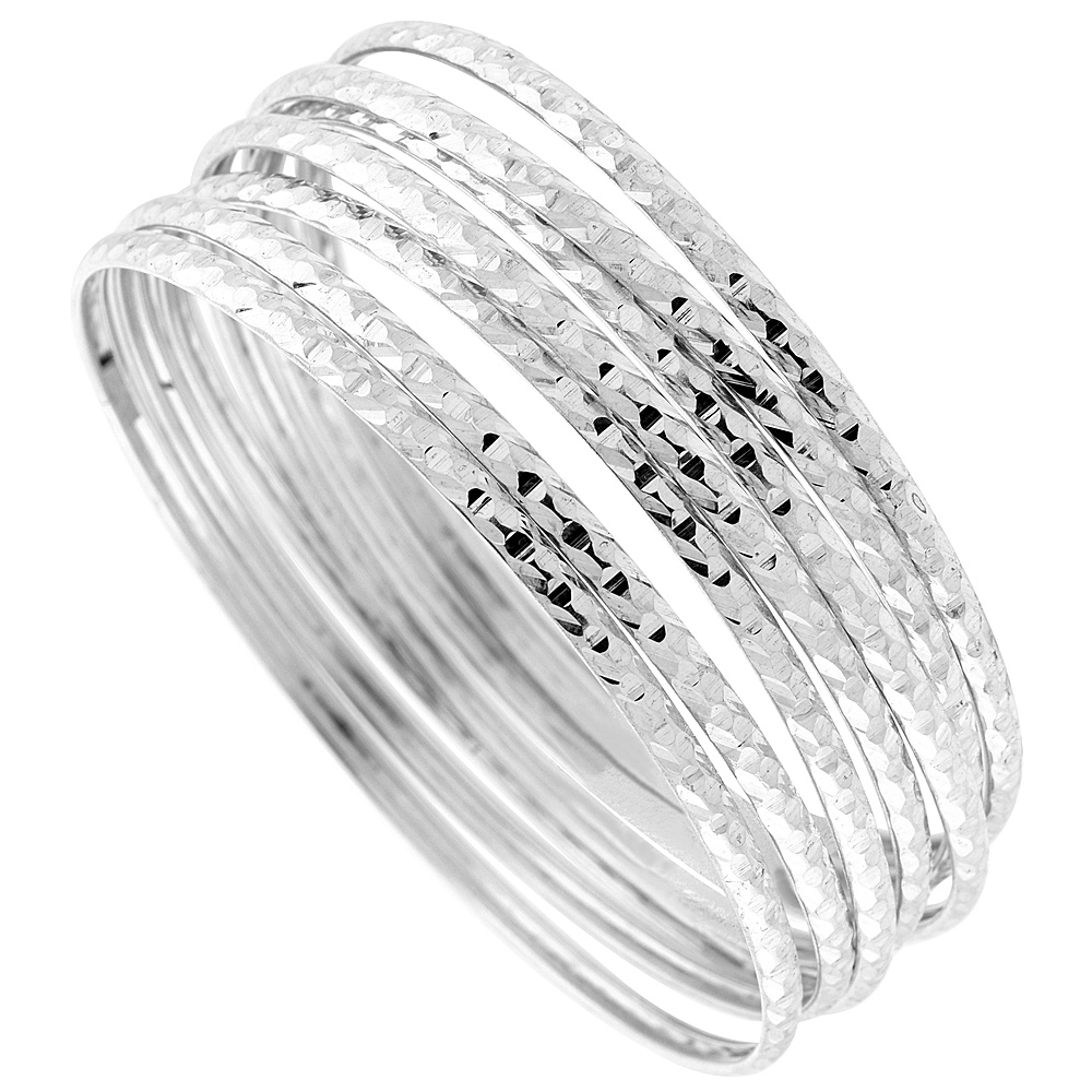 Sterling Silver 7-day Diamond cut Bangle, fits 7 inch wrists