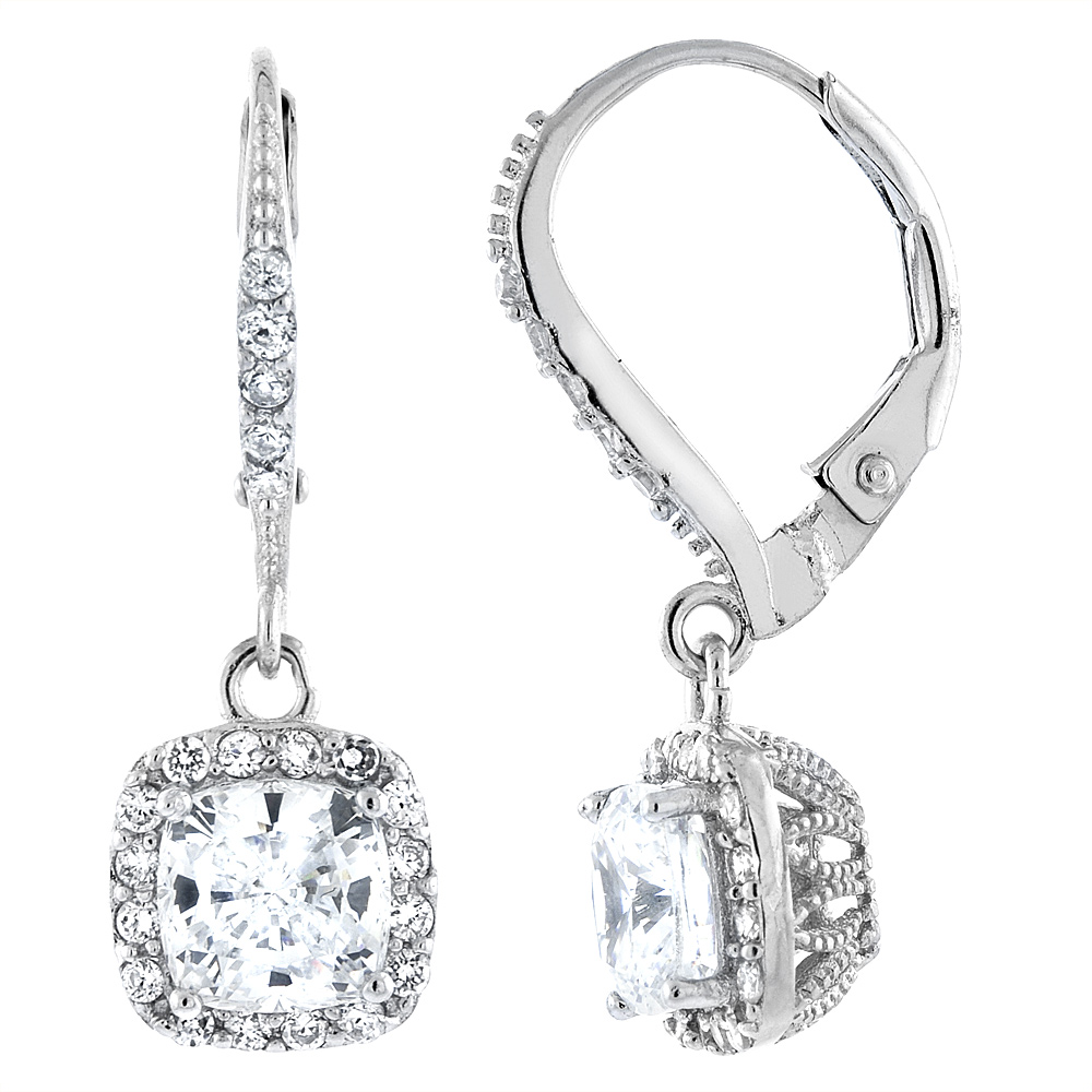 Sterling Silver Cubic Zirconia Square Dangling Lever Back Earrings 1 inch long