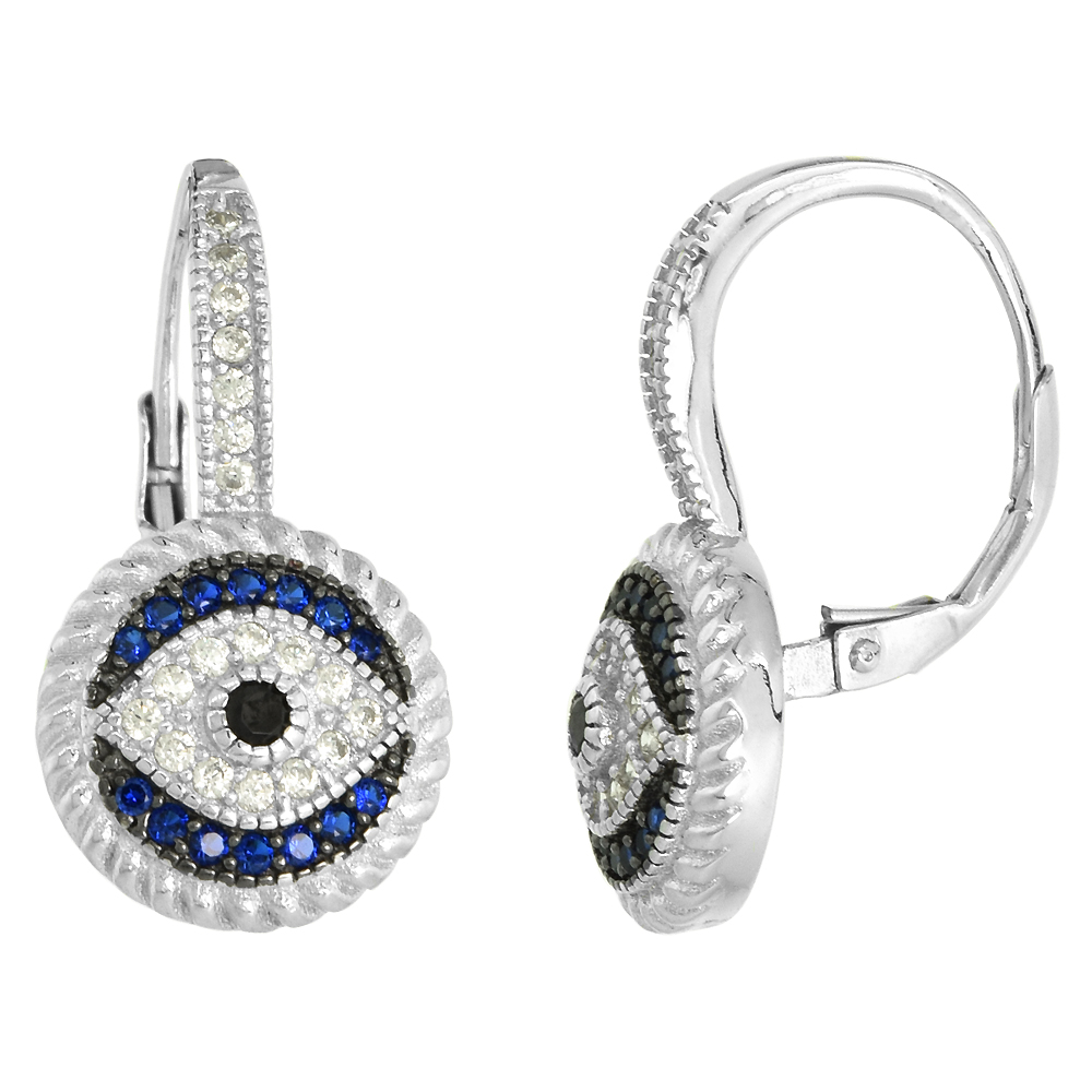 Art Deco Style Sterling Silver Evil Eye Lever Back Earrings with CZ Synthetic Blue Sapphires 7/8 inch