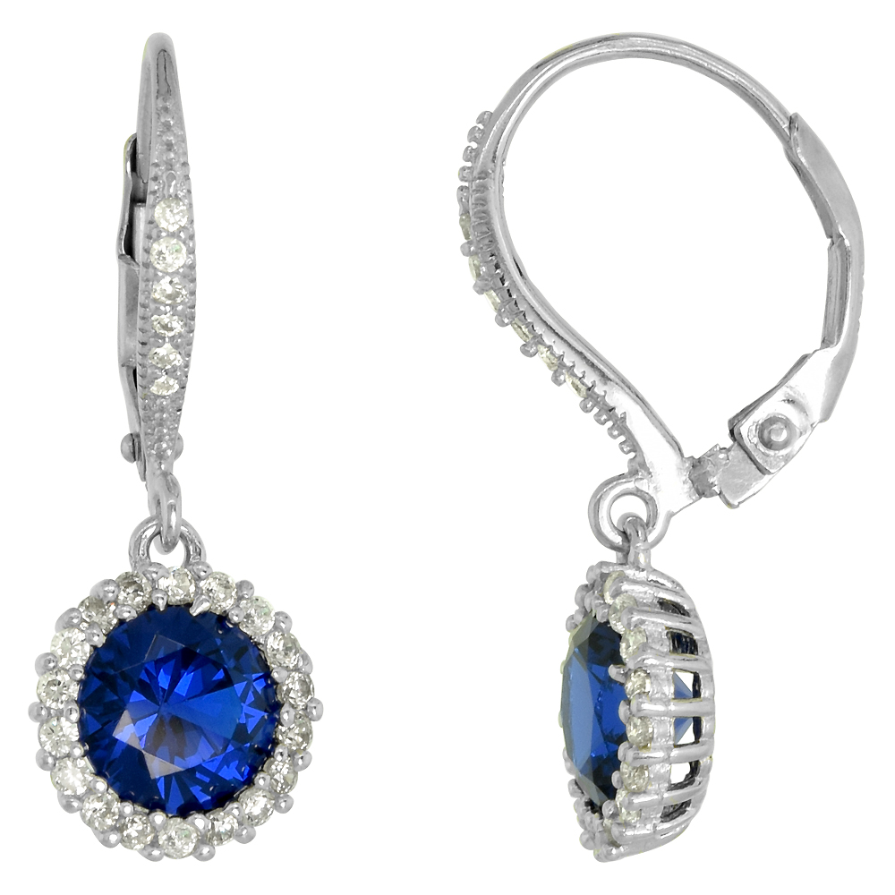 Sterling Silver Synthetic Blue Sapphire Leverback Drop Earrings Micro Pave CZ 1 inch