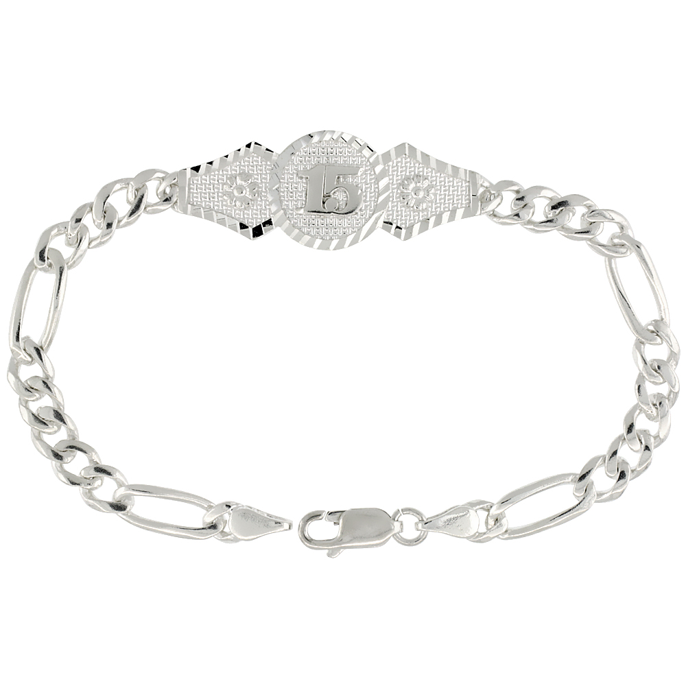 Sterling Silver Quinceanera Figaro Link Bracelet 1/2 inch wide, 7 inch long