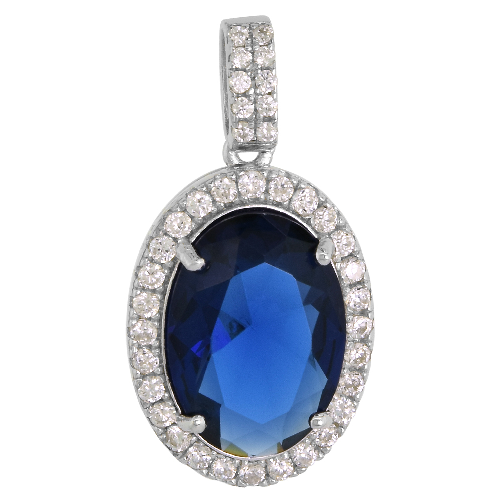 Sterling Silver Blue Sapphire Color Crystal Necklace Oval Micro Pave CZ, NO CHAIN