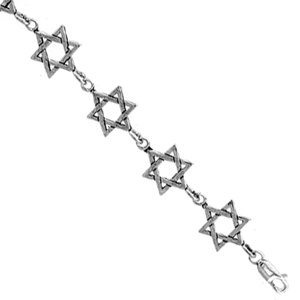 Sterling Silver Star of David Charm Bracelet, 7 inches long