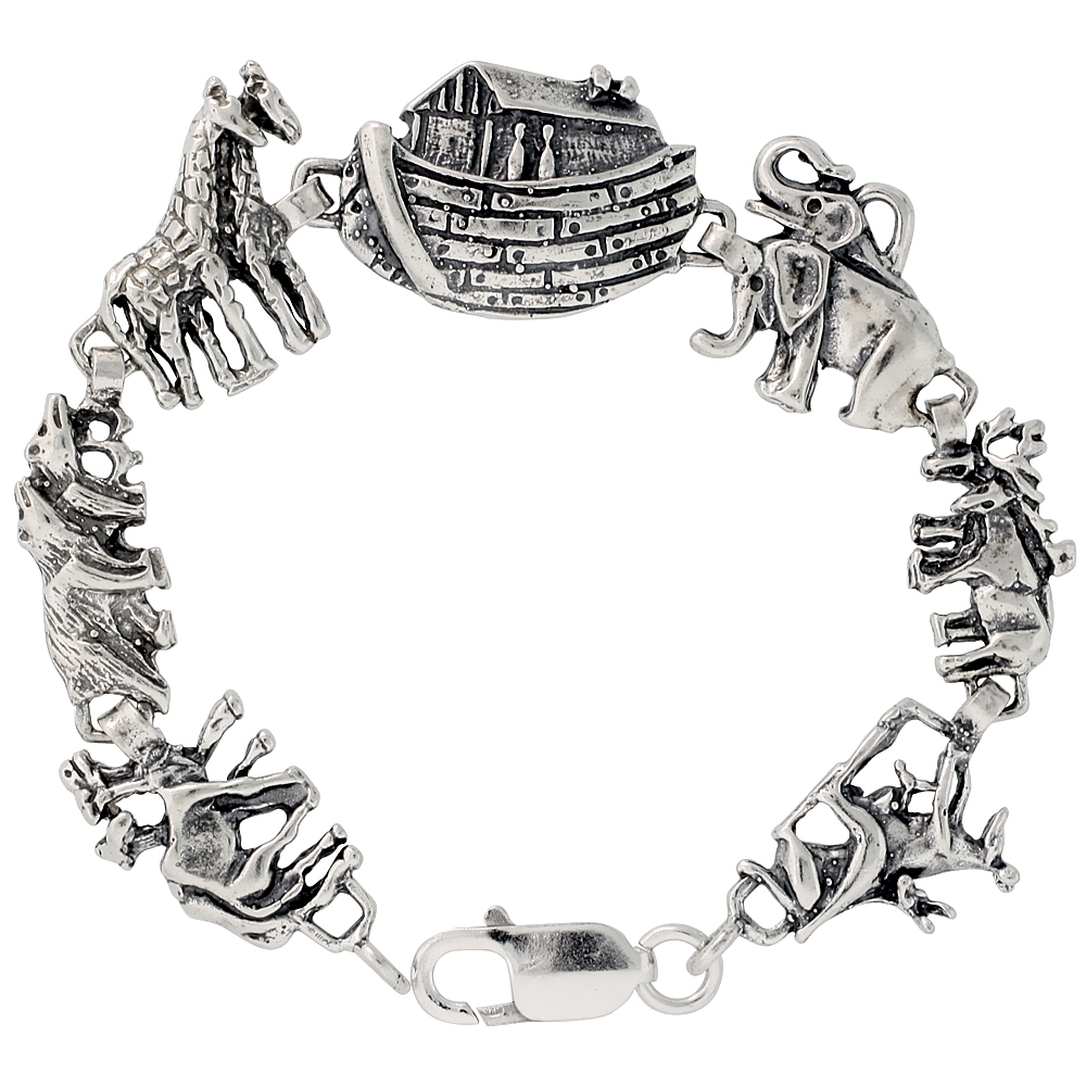 Sterling Silver Noah's Ark Bracelet, 7 inches long