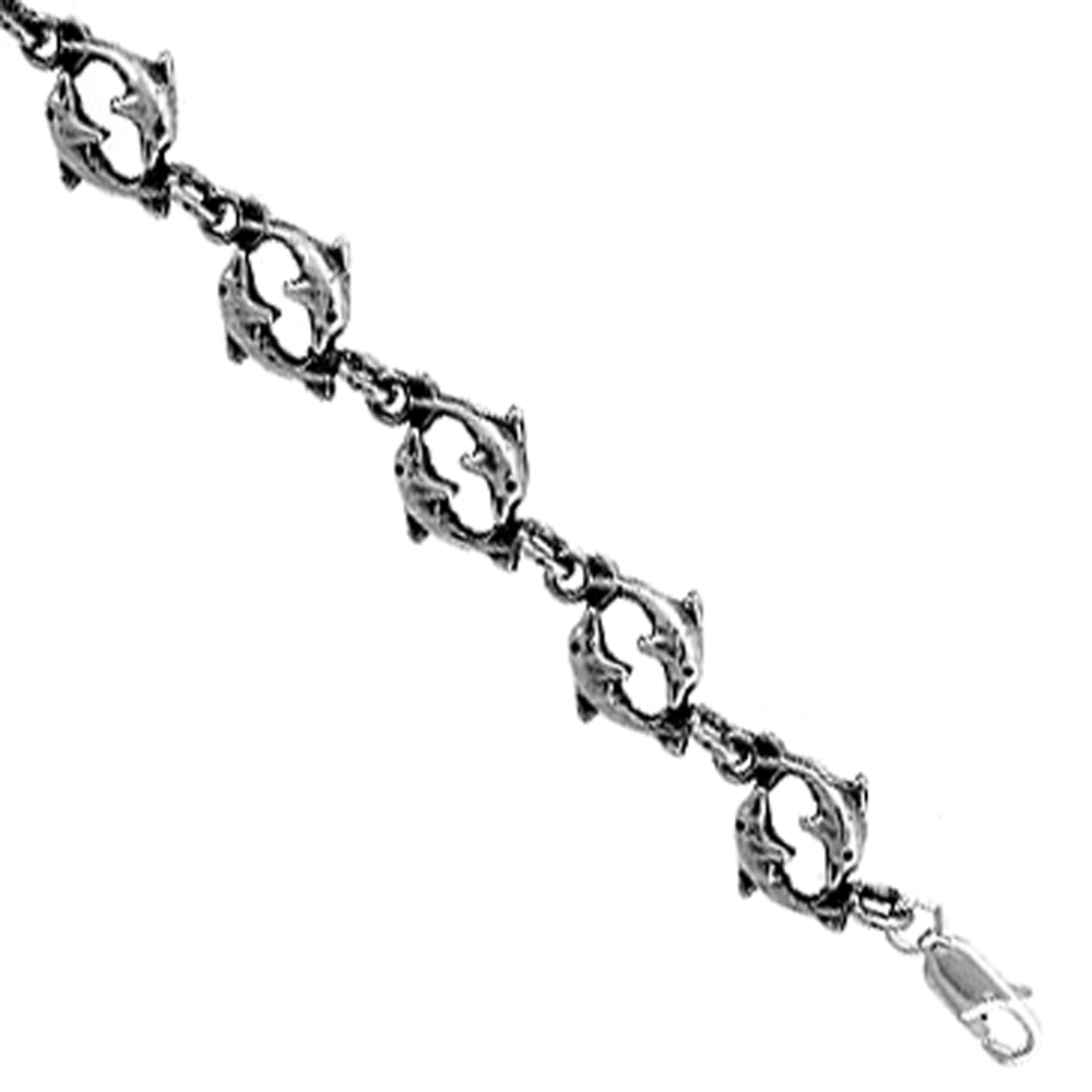 Sterling Silver Double Dolphin Charm Bracelet, 7 inches long