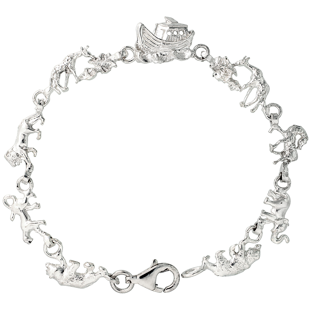 Sterling Silver Noah's Ark Bracelet, 7 and 8 inches long