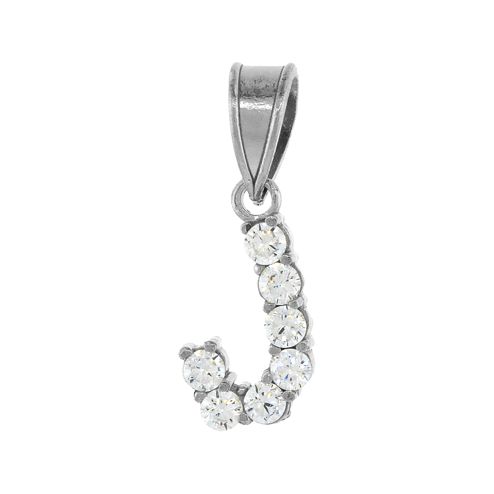 Sterling Silver Cubic Zirconia Initial Letter J Alphabet Pendant Rhodium Finish, 18 inch box_15