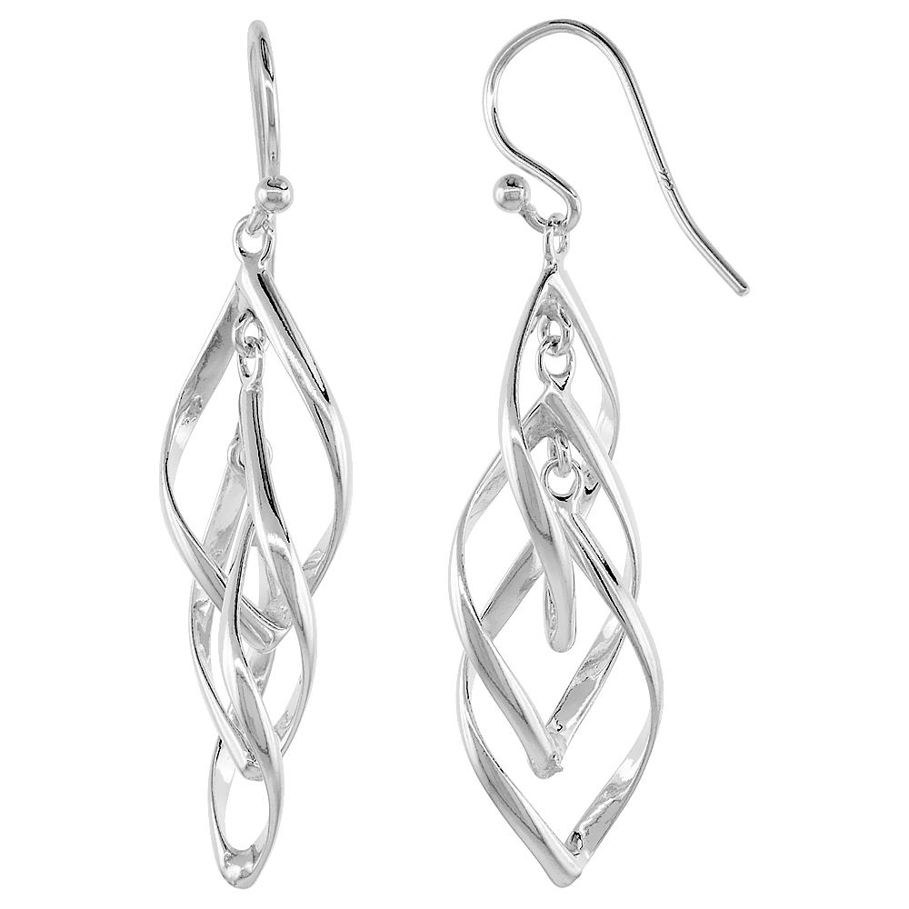 Sterling Silver Helical Dangle Earrings, 1 1/4 inches long