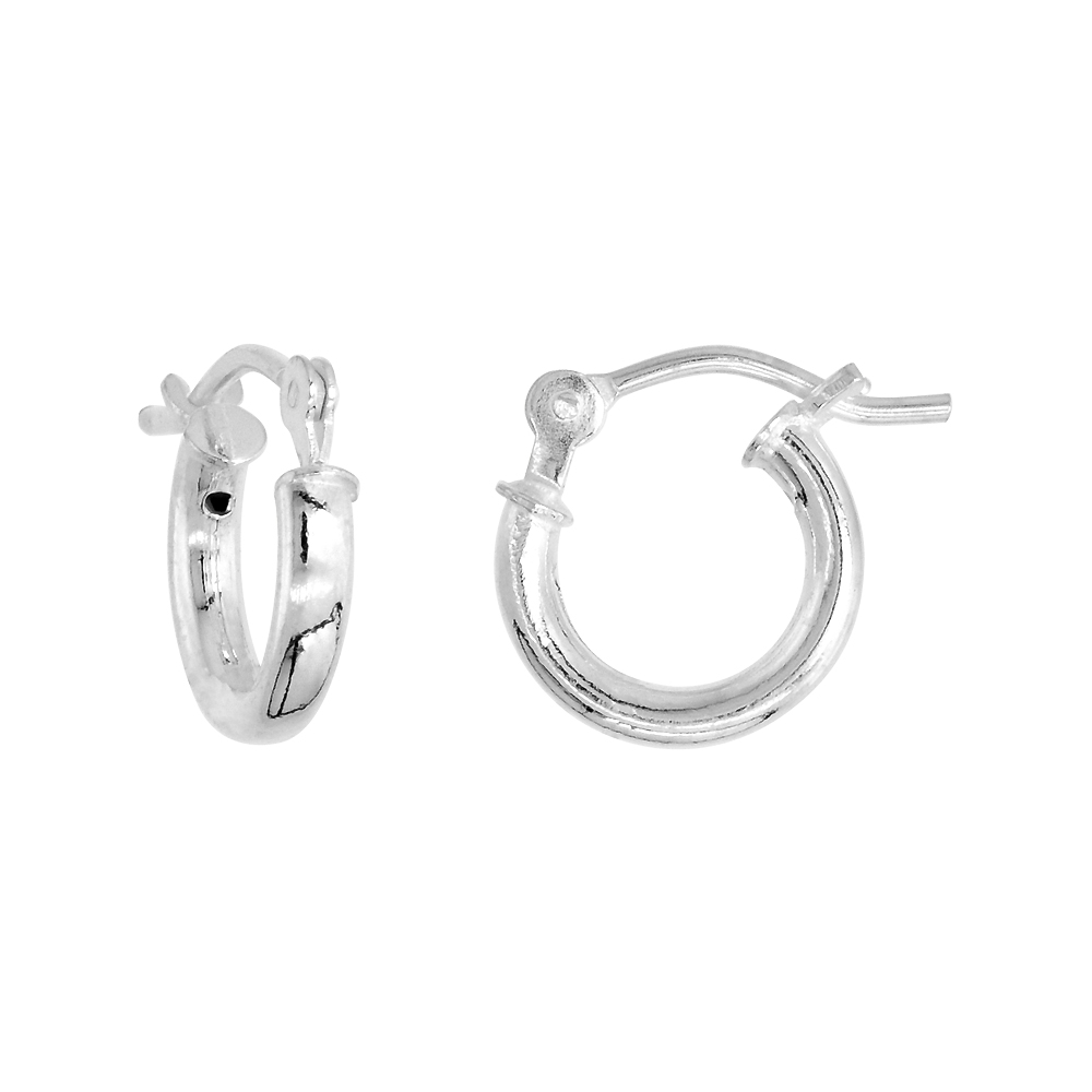 Sterling Silver Tiny 3/8 inch 10mm Hoop Earrings Women and Men Click Top 2mm Tube