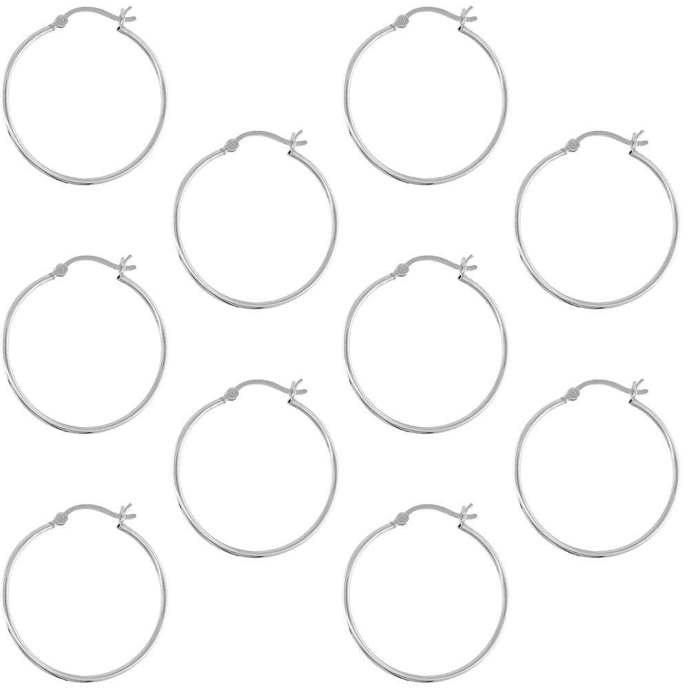 10 Pairs Sterling Silver Tube Hoop Earrings with Post-Snap Closure, 1mm thin 1 3/16 inch round