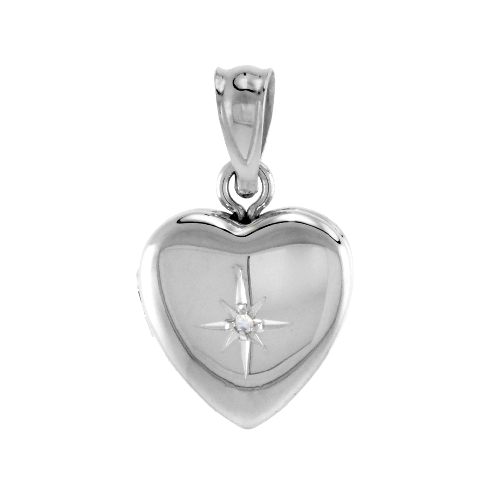 Very Tiny 1/2 inch Sterling Silver Diamond Heart Locket Necklace for Girls 16-20 inch