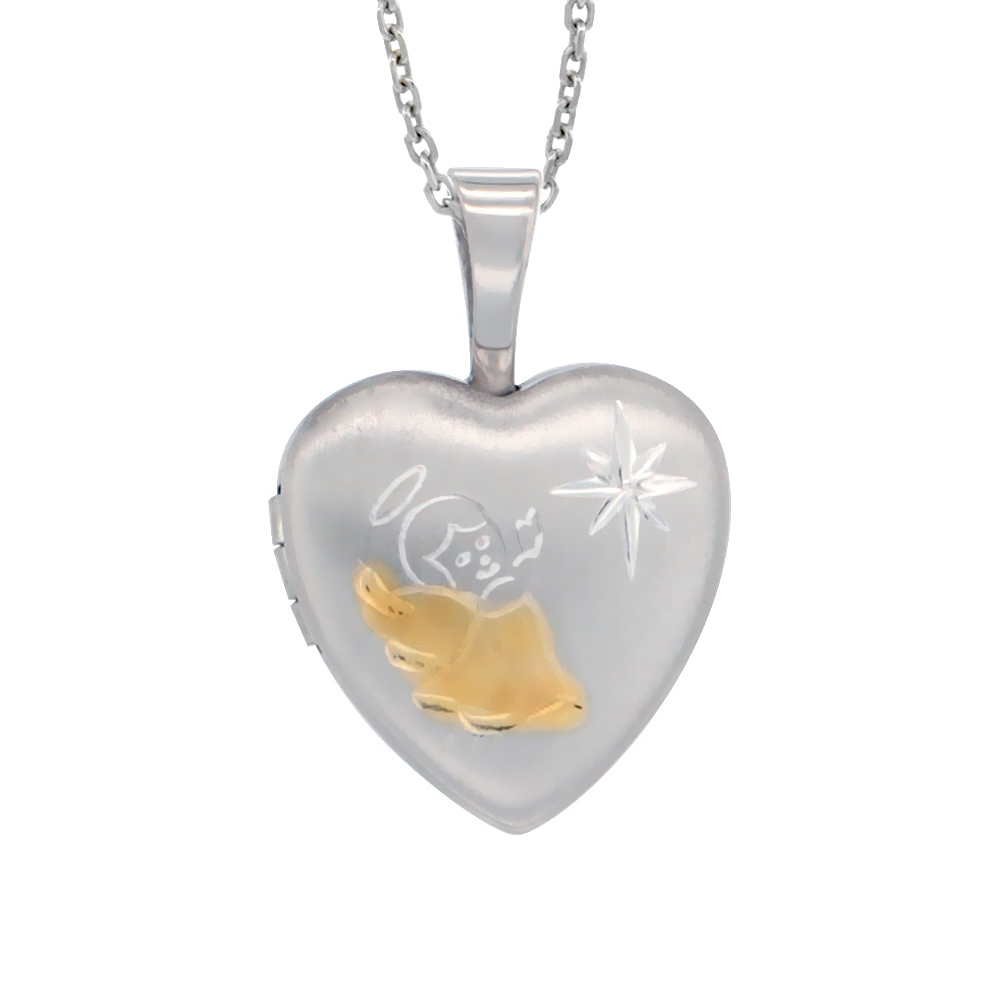 Very Tiny 1/2 inch Sterling Silver Angel Locket Necklace for Girls for Girls Heart shape Two Tone, 16-20 inch