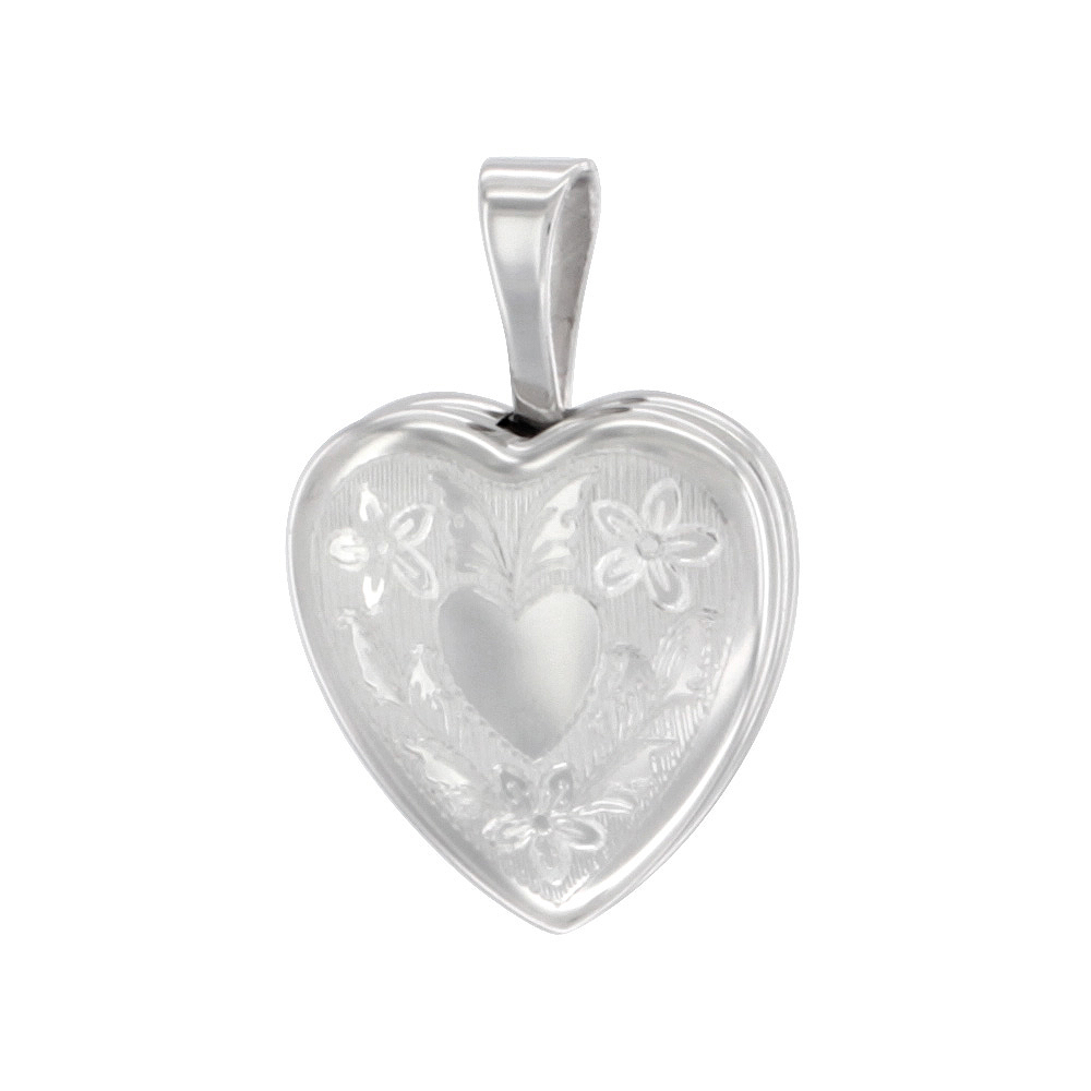 Very Tiny 1/2 inch Sterling Silver Heart Locket Necklace for Girls Floral Engraving 16-20 inch