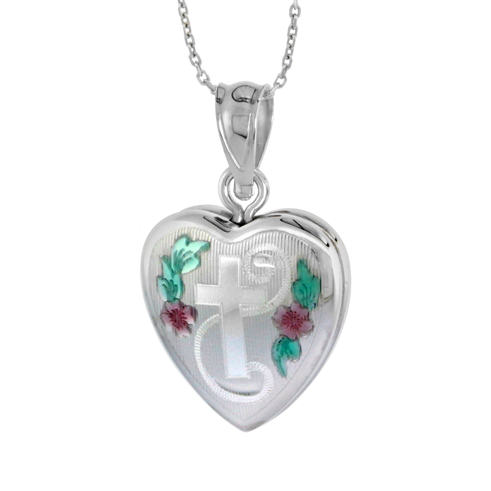 Very Tiny 1/2 inch Sterling Silver Cross Locket Necklace for Girls Heart shape Green & Pink Enamel, 16-20 inch