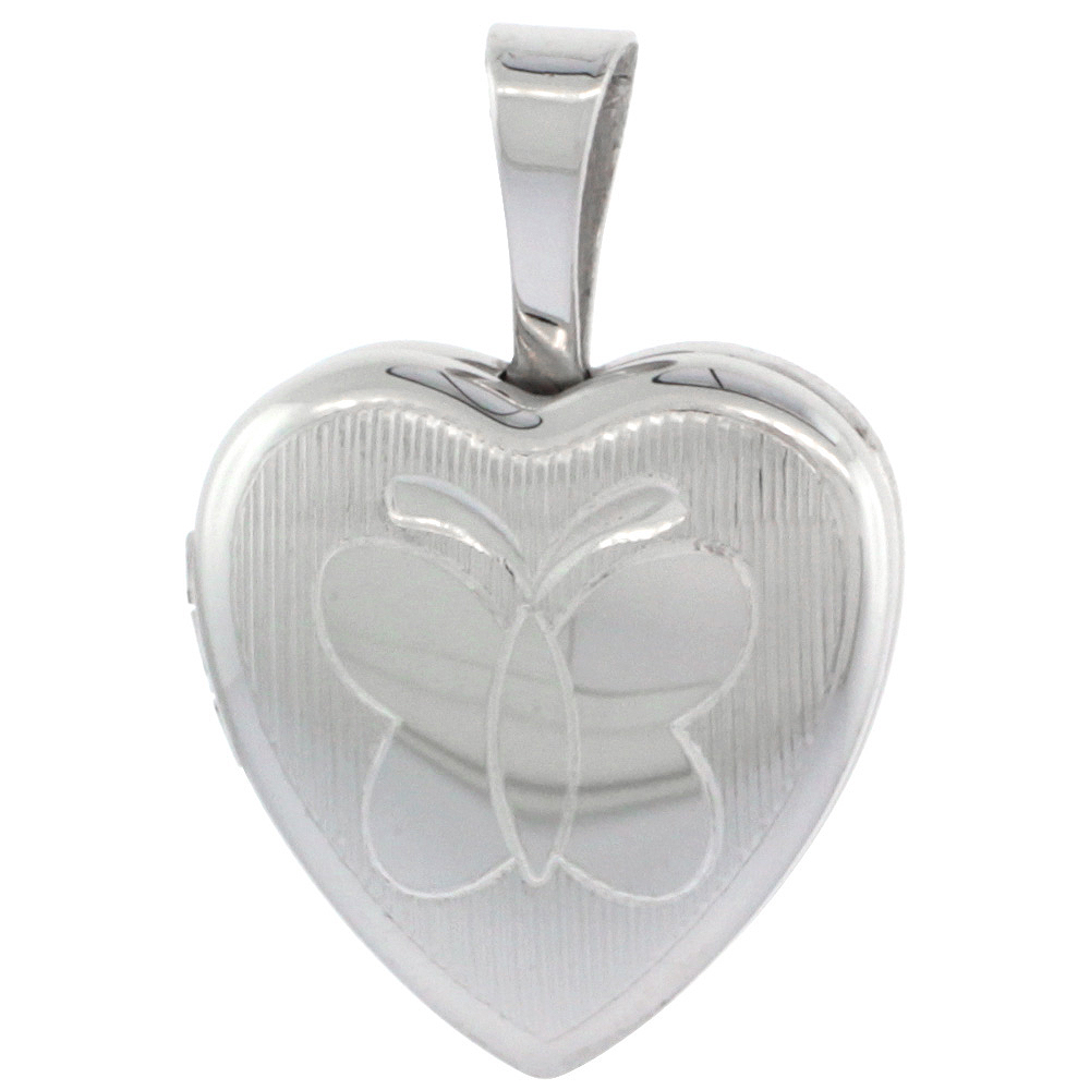Very Tiny 1/2 inch Sterling Silver Butterfly Locket Necklace for Girls Heart Shape Engraved Stripes, 16-20 inch