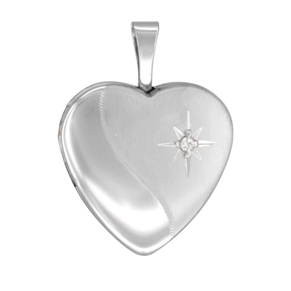Small 5/8 inch Sterling Silver Diamond Heart Heart Locket Necklace for Women, 16-20 inch