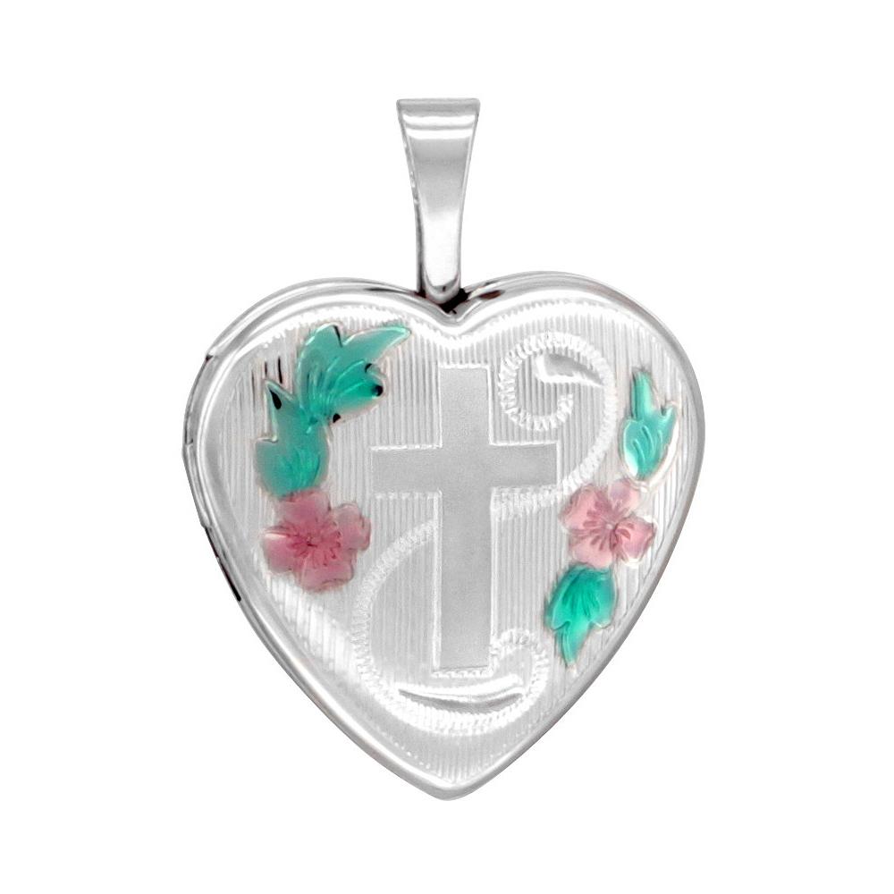 Small 5/8 inch Sterling Silver Cross Locket Necklace for Women Heart shape Green & Pink Enamel, 16-20 inch