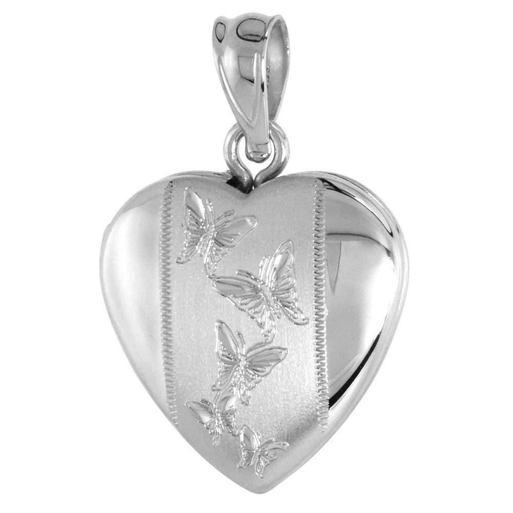 Small 5/8 inch Sterling Silver Butterfly Locket Necklace for Women Heart Shape Butterflies, 16-20 inch