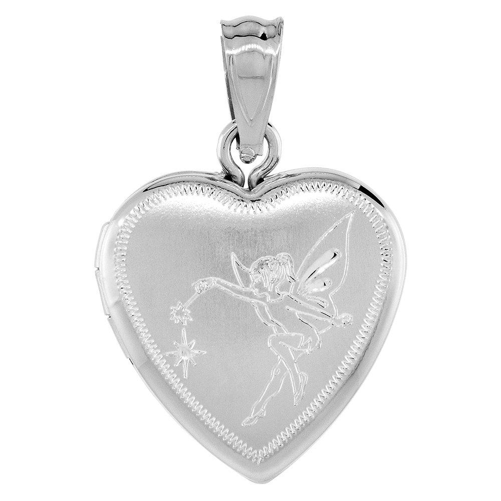Small 5/8 inch Sterling Silver Fairy Locket Necklace for Women Heart shape, 16-20 inch