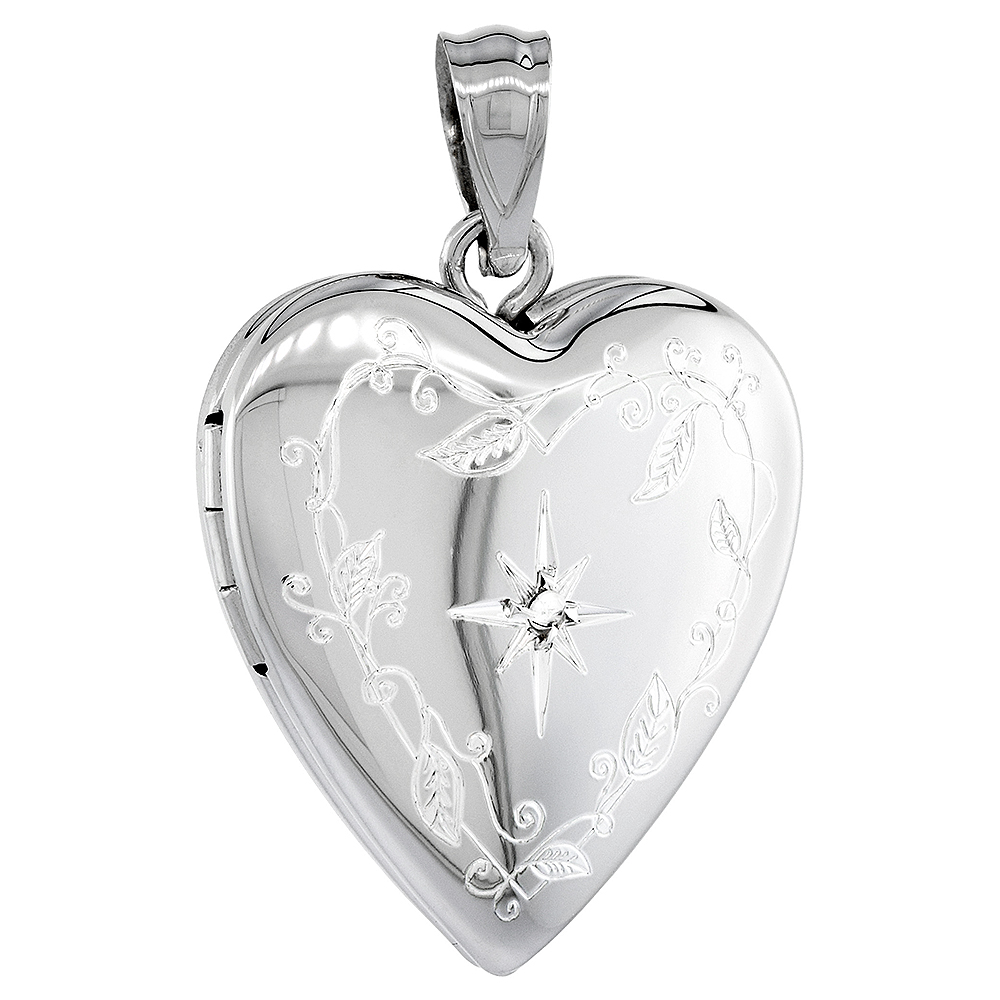 3/4 inch Sterling Silver Diamond Heart Locket Necklace for Women Engraved Star 16-20 inch