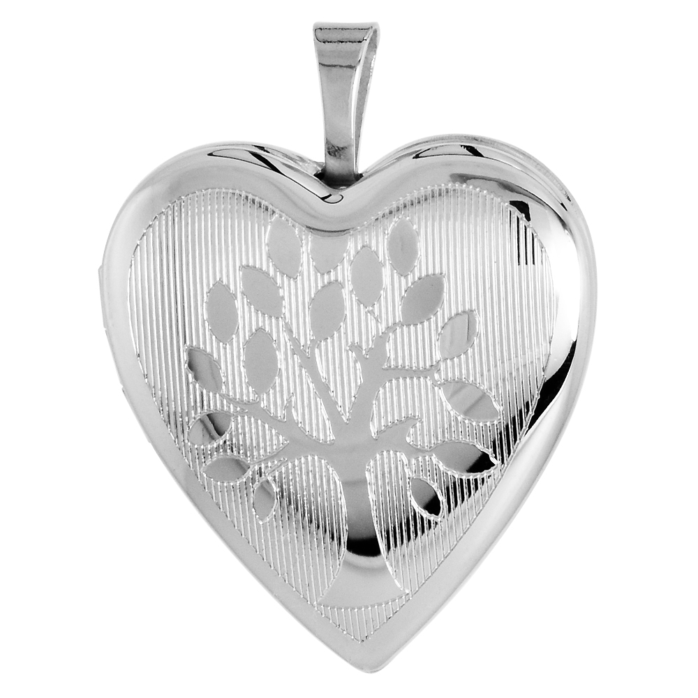 3/4 inch Sterling Silver Family Tree Heart Locket Necklace for Women, 16-20 inch