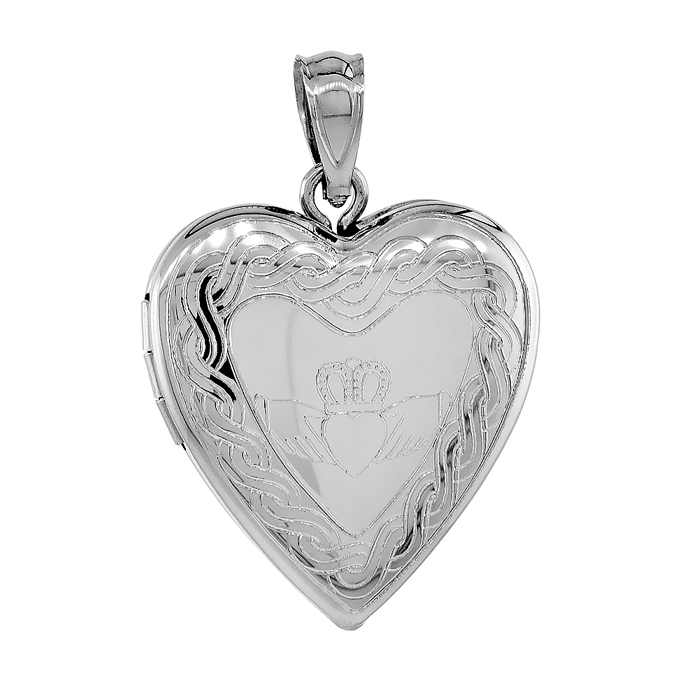 3/4 inch Sterling Silver Claddagh Locket Heart Shape Necklace Celtic Knot Motif 16-20 inch