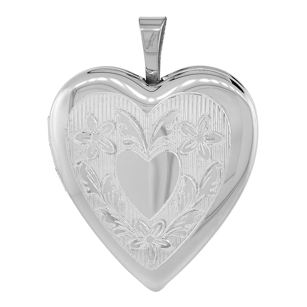 3/4 inch Sterling Silver Heart Locket Necklace for Women Floral Engraving, 16-20 inch