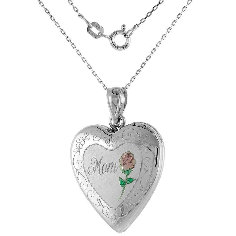 3/4 inch Sterling Silver Heart Locket Necklace for Women MOM & Red Rose 16-20 inch
