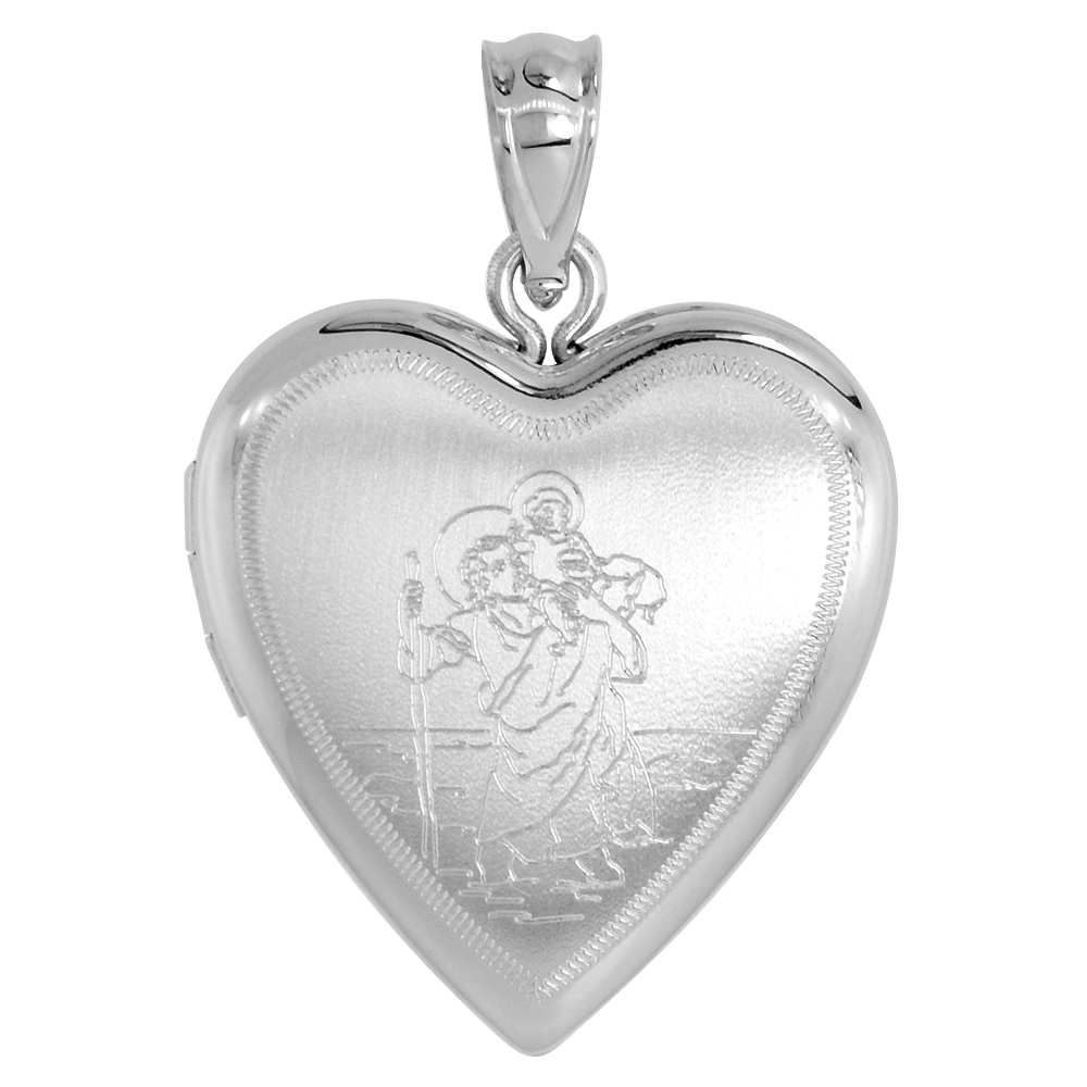3/4 inch Sterling Silver St Christopher Locket Necklace for Women Heart Shape, 16-20 inch