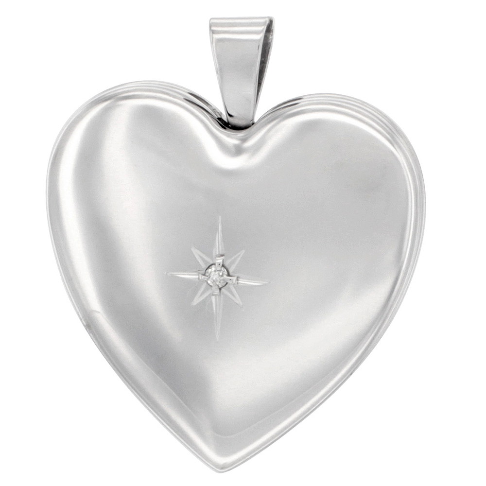 1 inch Sterling Silver Diamond Heart Locket Necklace for Women 4 Picture 16-20 inch