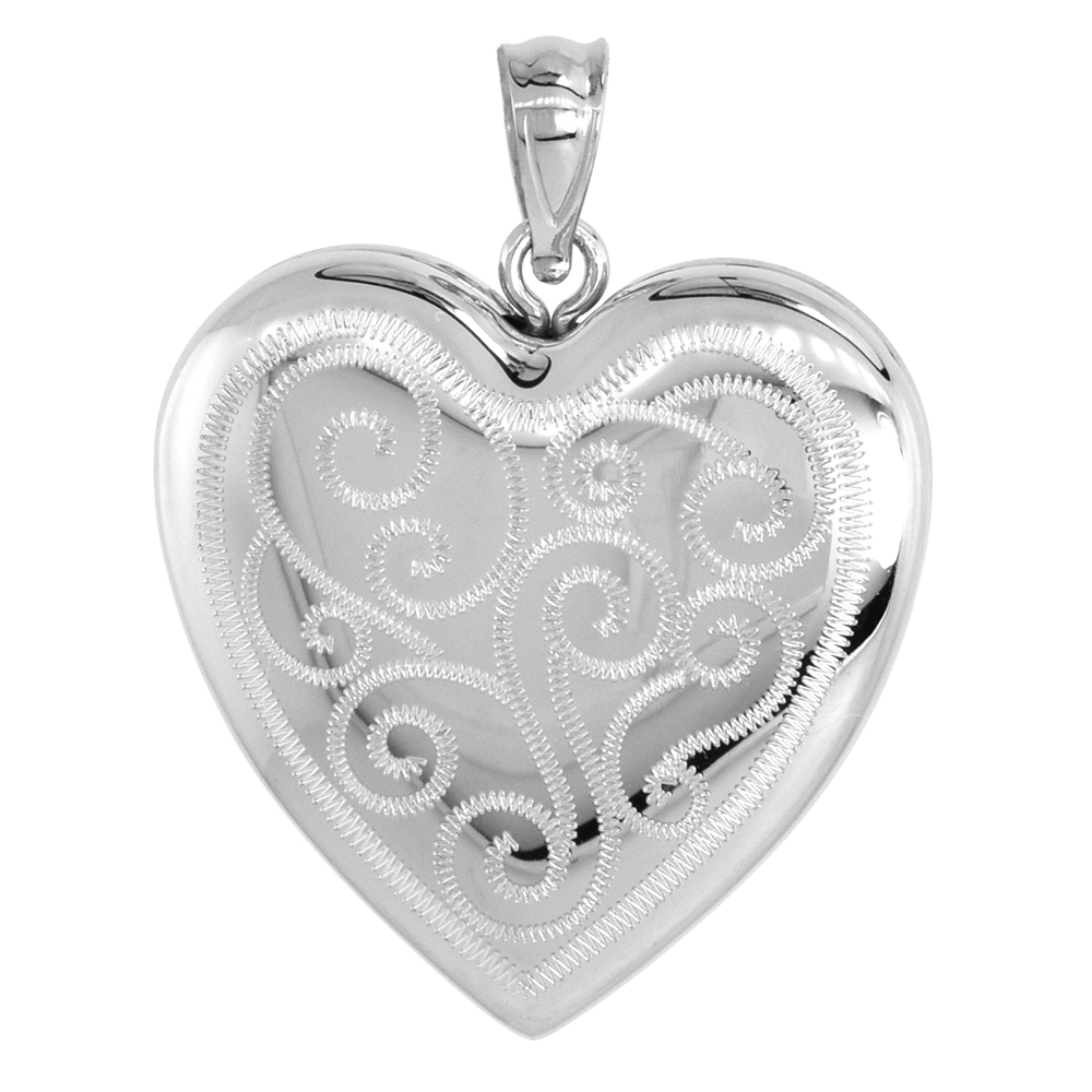 1 inch Sterling Silver Heart Locket Necklace for Women 4 Picture Scroll Engraved, 16-20 inch