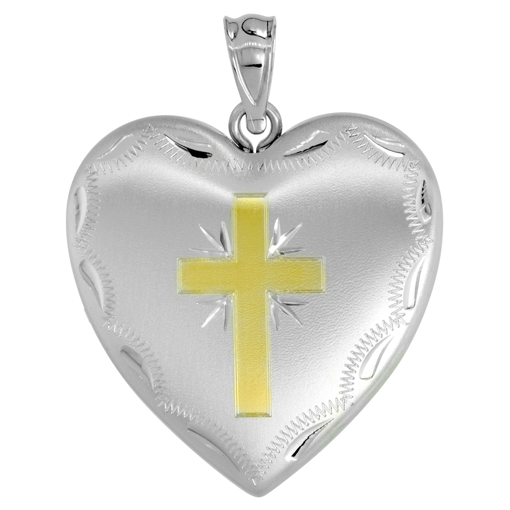 1 inch Sterling Silver Heart Locket Necklace for Women 4 Picture Gold Cross, 16-20 inch