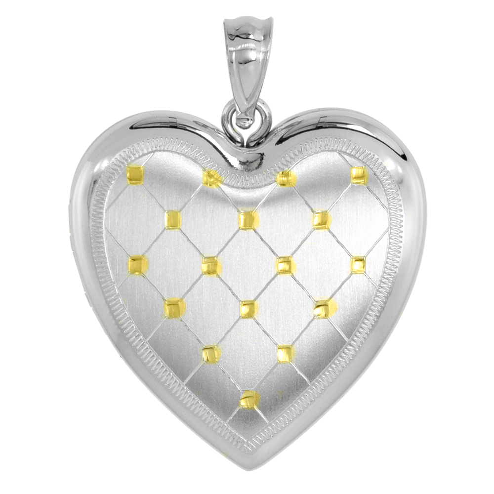 1 inch Sterling Silver Heart Locket Necklace for Women 4 Picture Gold Quilt, 16-20 inch