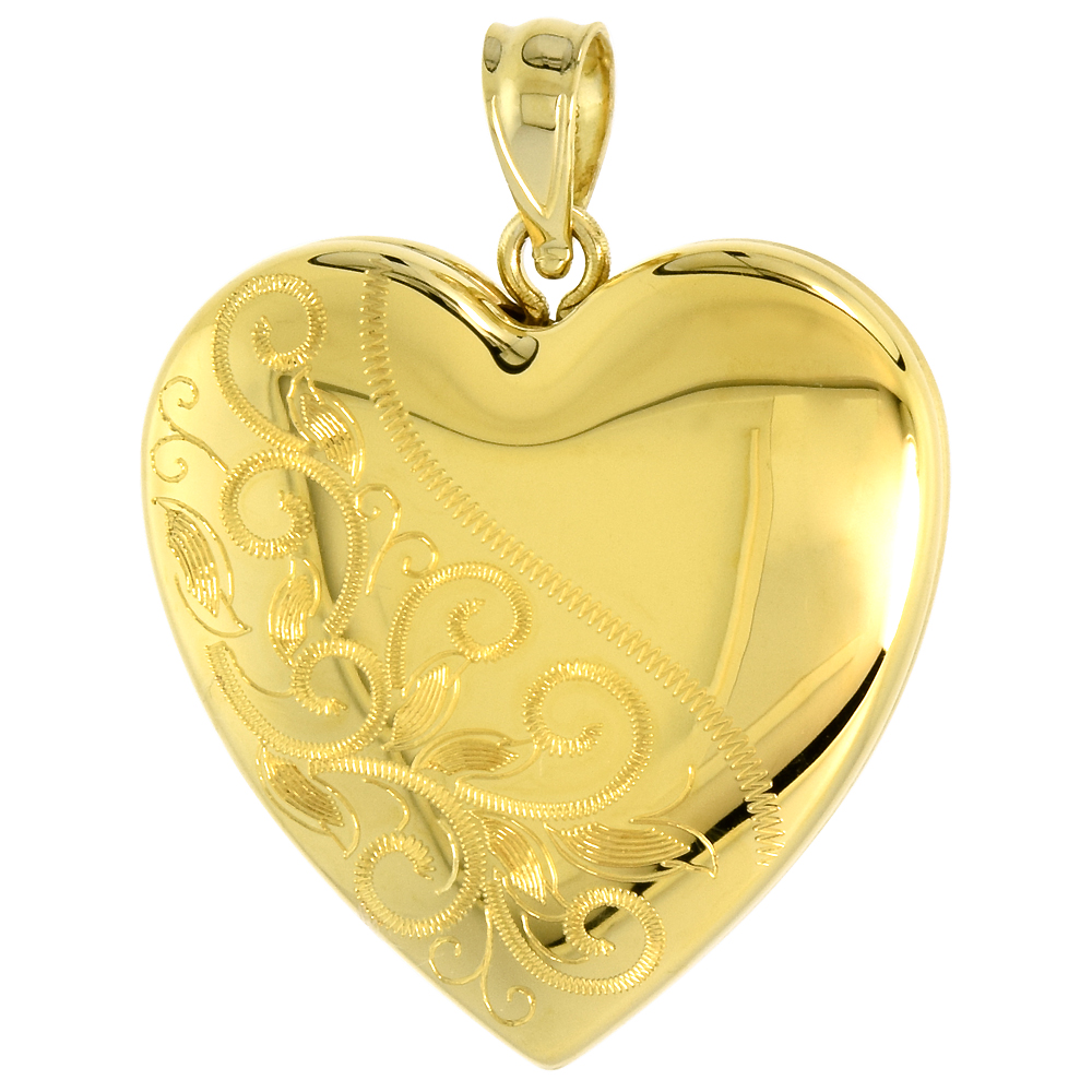Gold plated 1 inch Sterling Silver Heart Locket Necklace for Women Scroll Etching, 16-20 inch
