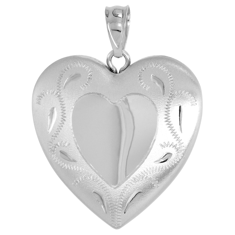 1 inch Sterling Silver Heart Locket Necklace for Women Scroll Etching Heart Center, 16-20 inch