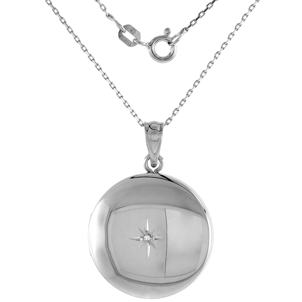 3/4 inch Round Sterling Silver Diamond Locket Necklace for Women Starburst Set Polished Finish, 16-20 inch
