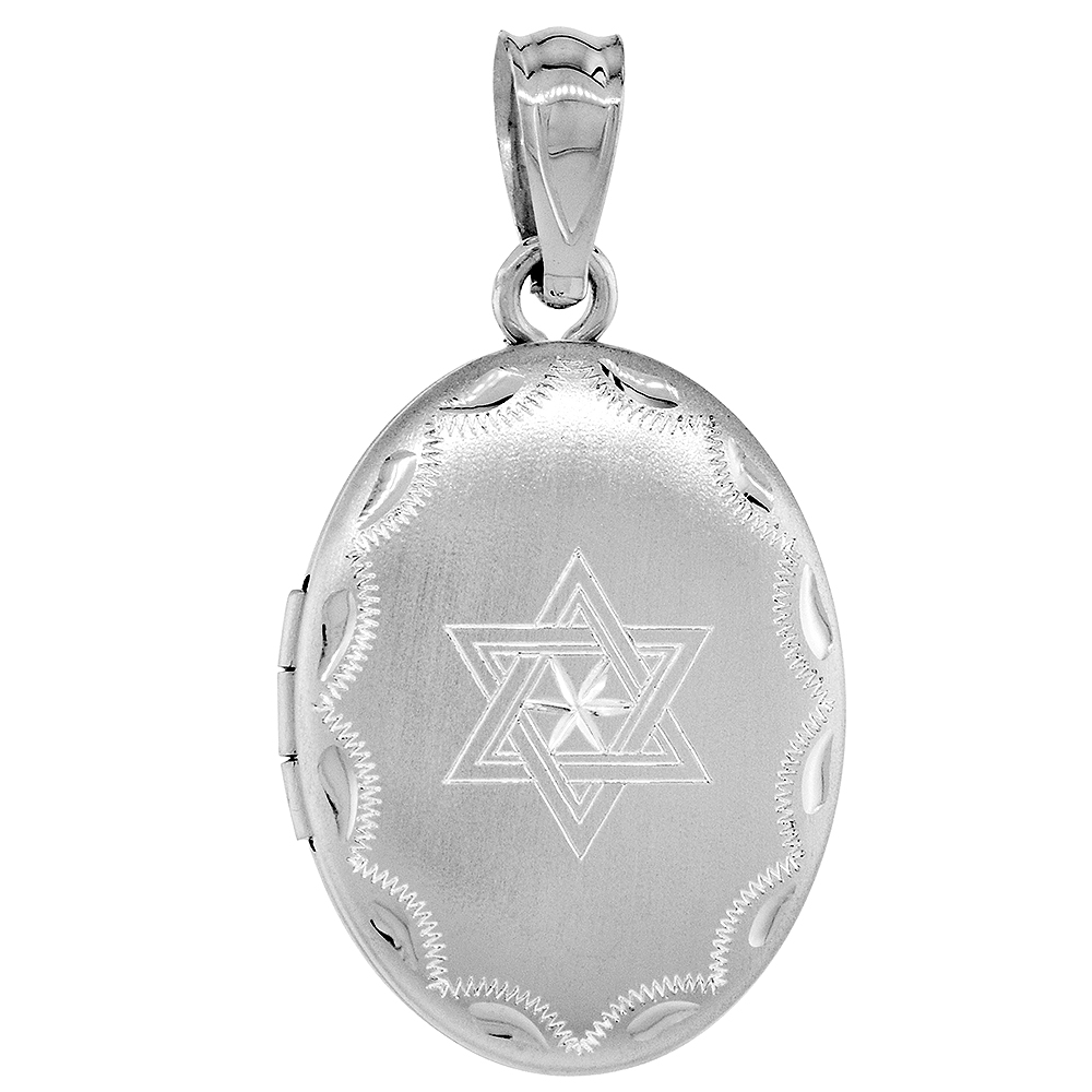 Small Sterling Silver Oval Star of David Locket Necklace 5/8 inch