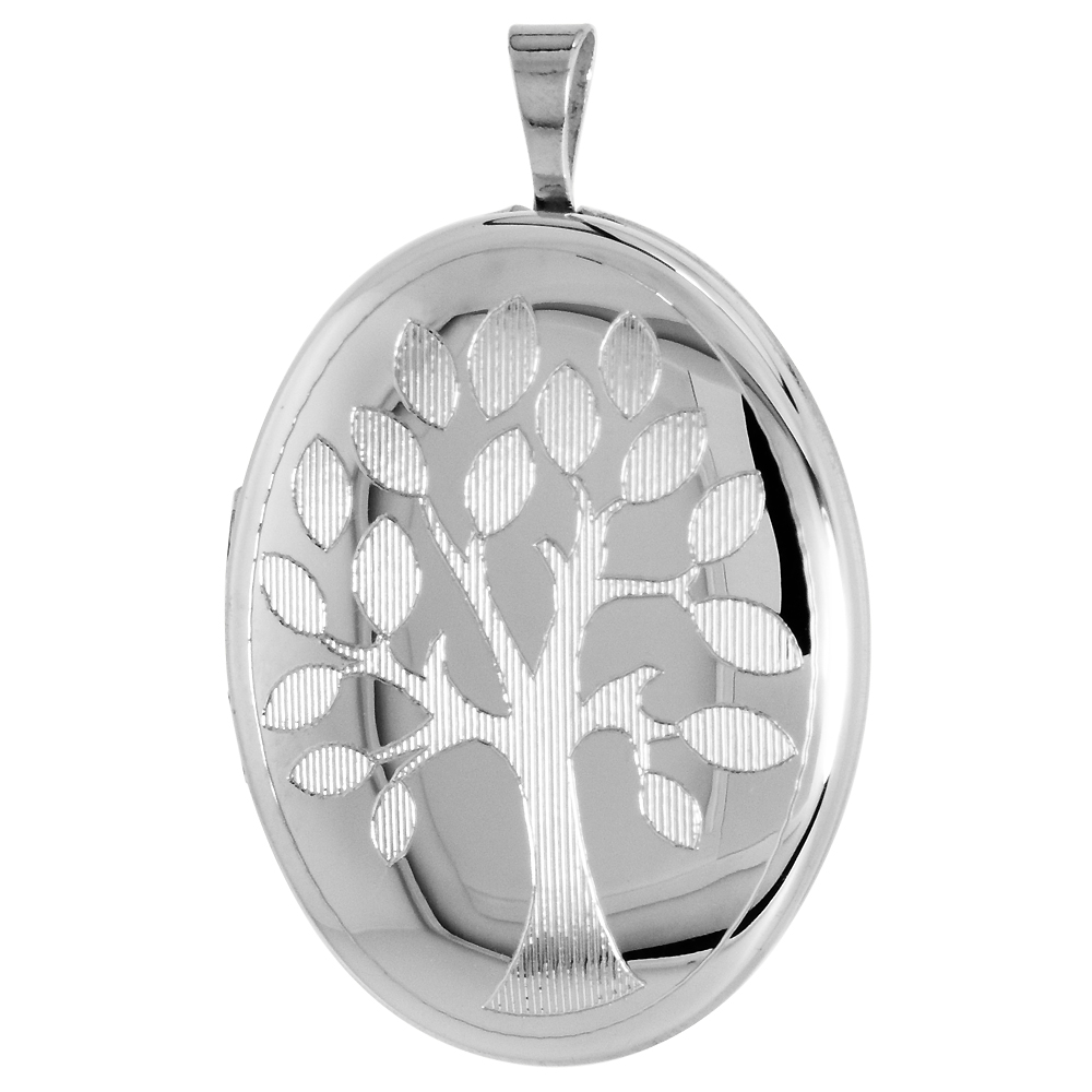 Sterling Silver Family Tree Oval Locket Necklace 1 1/32 inch