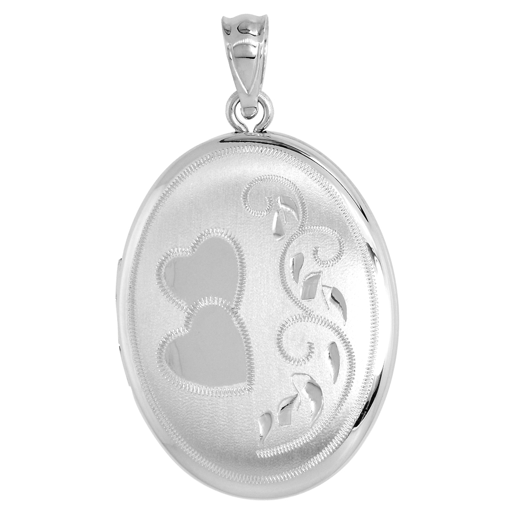 Sterling Silver Locket Necklace Oval Scroll Hearts & Scroll Motif 1 1/32 inch