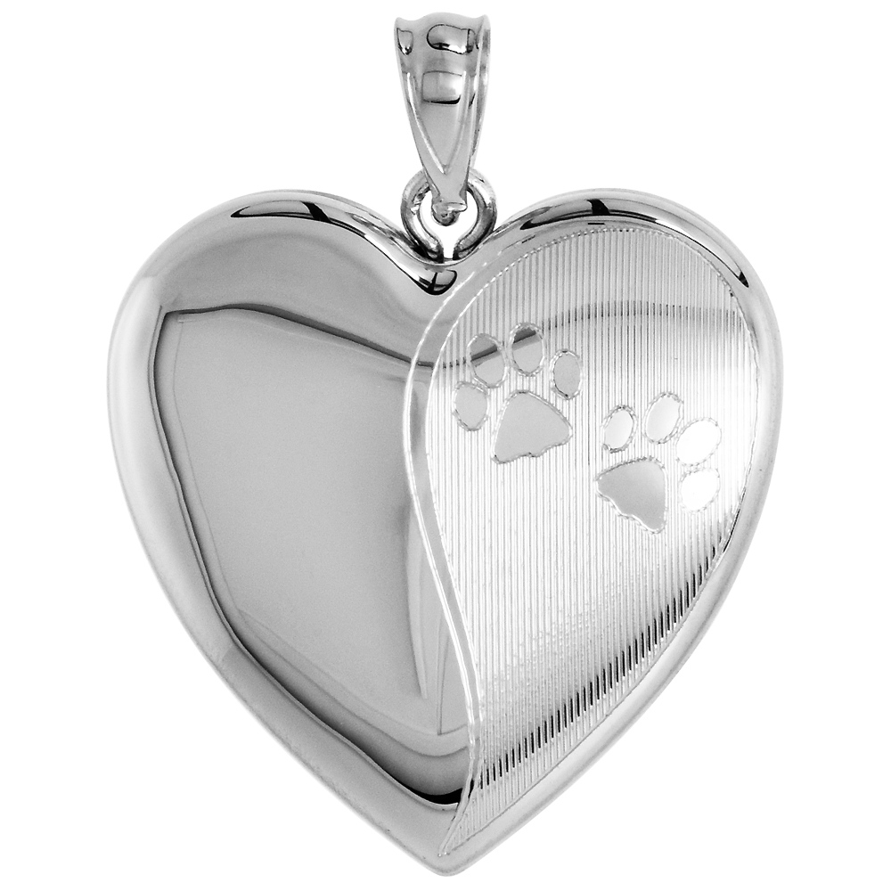 Sterling Silver Heart Locket / Urn Necklace 1 Picture Paw Prints 1 inch