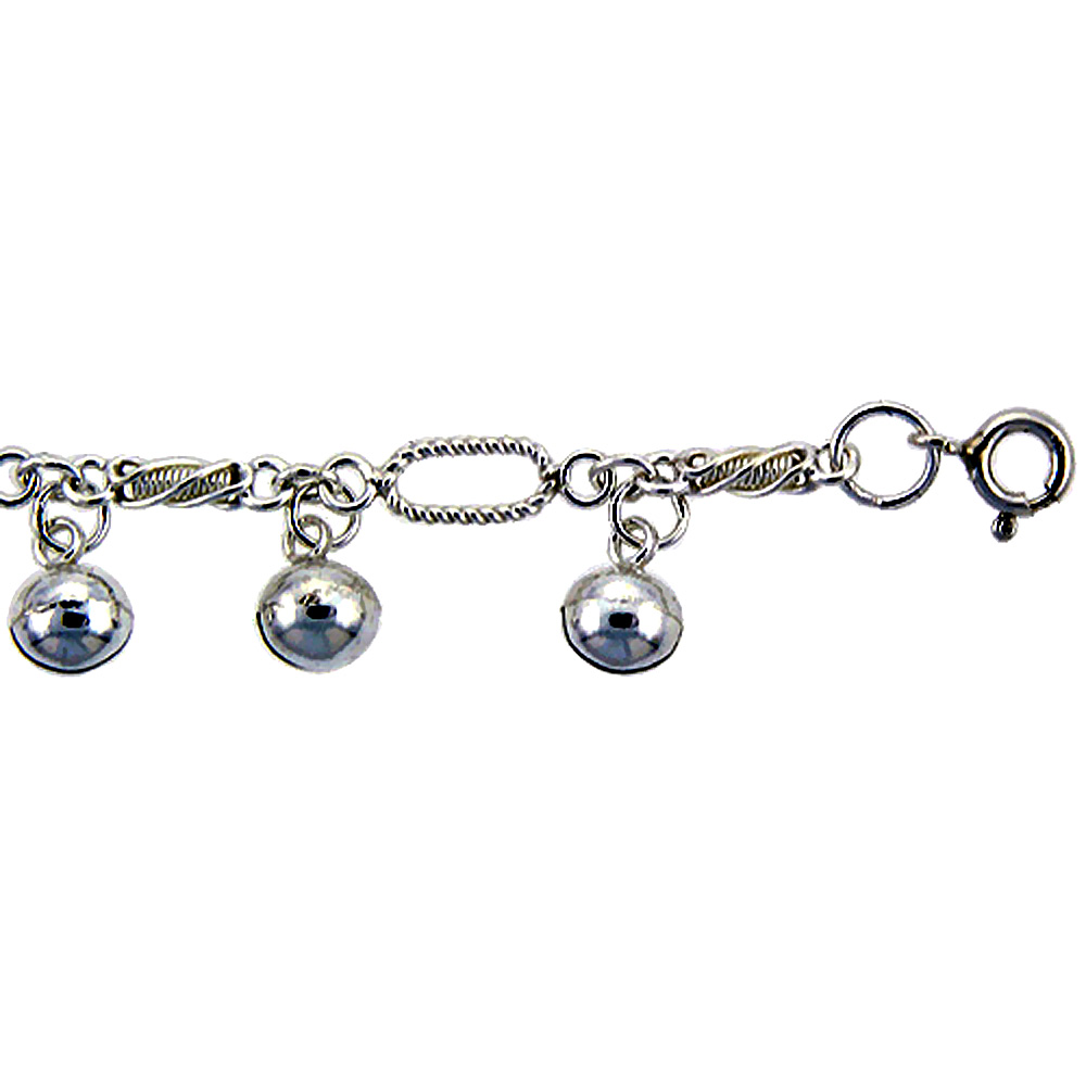 Sterling Silver Fancy Twisted Link Anklet with Bells, fits 9 - 10 inch ankles